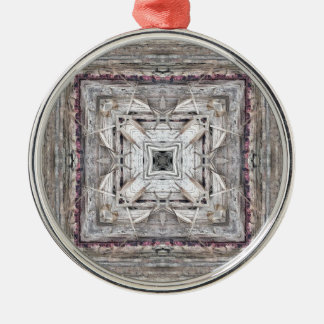 Pretty Pink Tinged Aztec Inspired Pattern Metal Ornament