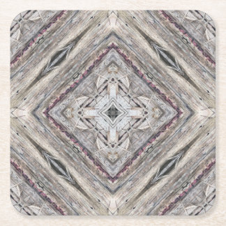 Pretty Pink Tinged Aztec Inspired Pattern Square Paper Coaster