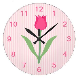 Pretty Pink Tulip Flower. Clock