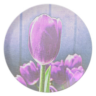 Pretty Pink Tulip Flowers Plate