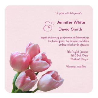 Pretty Pink Tulip Wedding Invitation
