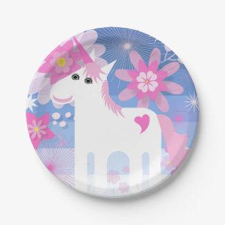 Pretty Pink Unicorn Paper Plate