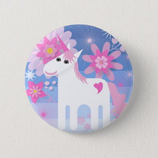 Pretty Pink Unicorn Round Badge