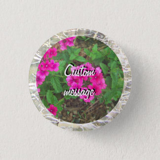 Pretty pink verbena flowers floral photo 3 cm round badge