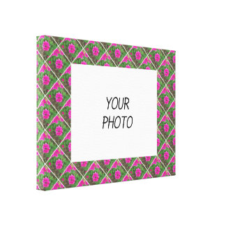 Pretty pink verbena flowers floral photo canvas print