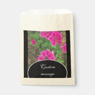 Pretty pink verbena flowers floral photo favour bag