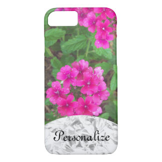 Pretty pink verbena flowers floral photo iPhone 8/7 case