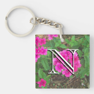 Pretty pink verbena flowers floral photo key ring