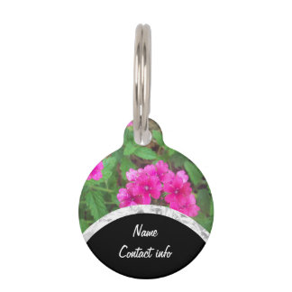 Pretty pink verbena flowers floral photo pet ID tag