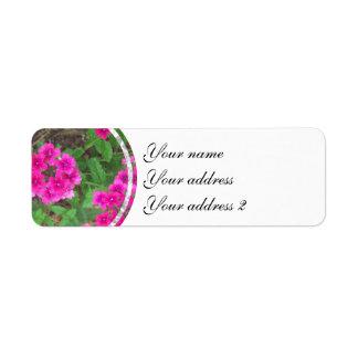 Pretty pink verbena flowers floral photo return address label