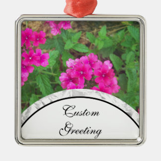 Pretty pink verbena flowers floral photo Silver-Colored square decoration