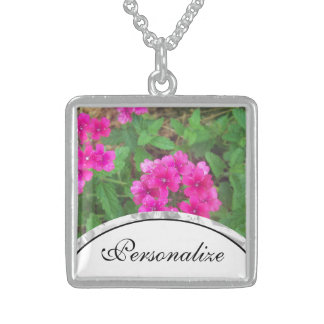 Pretty pink verbena flowers floral photo sterling silver necklace