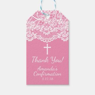 Pretty Pink Vintage Lace Confirmation Gift Tag