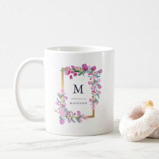 Pretty Pink Watercolor Bougainvillea Flowers Coffee Mug