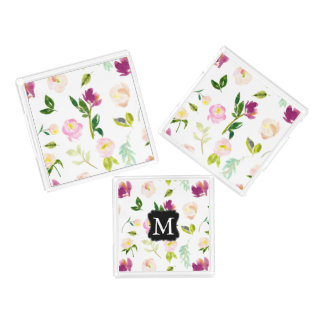 Pretty Pink Watercolor Floral Monogram Acrylic Tray