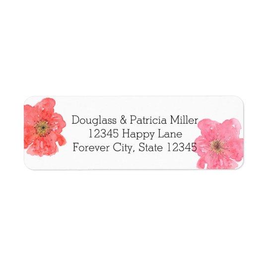 Pretty Pink Watercolor Floral Return Address Label