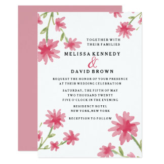 Pretty Pink Watercolor Floral Wedding Card