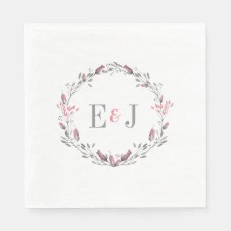 Pretty Pink Watercolor Floral Wedding Disposable Serviette