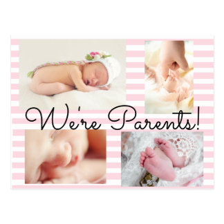 "Pretty Pink ""We're Parents""  Birth Announcement Postcard"