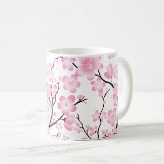 pretty pink white cherry blossom delicate mug
