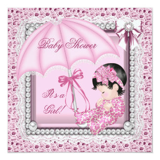Pretty Pink White Cute Girl Baby Shower Announcement