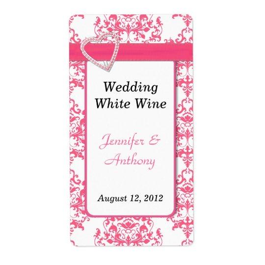 Pretty Pink & White Damask Wedding Wine Labels