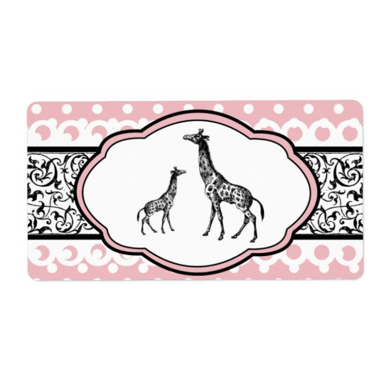Pretty Pink & White Giraffe Water Bottle Labels