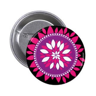 Pretty Pink White Purple Flower Mandala Circle Button