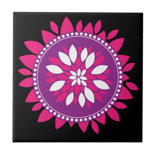 Pretty Pink White Purple Flower Mandala Circle Ceramic Tile