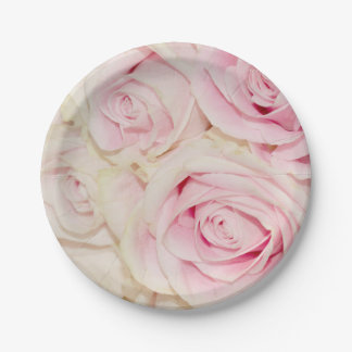 Pretty Pink White Roses Paper Plate