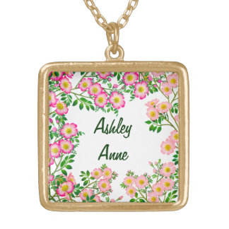 Pretty Pink Wild Roses Customizable Necklace