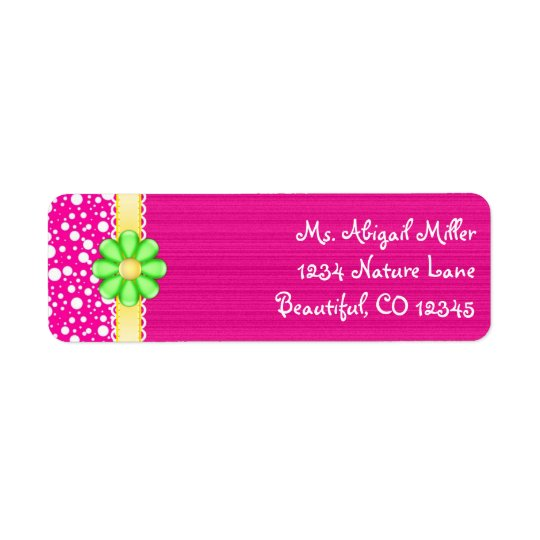 Pretty Pink with Green Flower Address Labels
