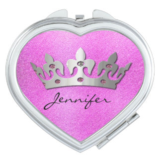 Pretty Pink with Silver Crown Compact Mirror