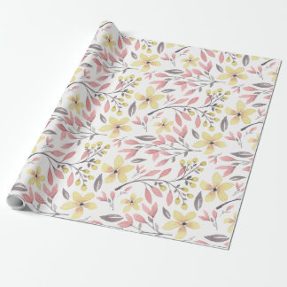 Pretty Pink, Yellow, and Gray Floral Patterned Wrapping Paper