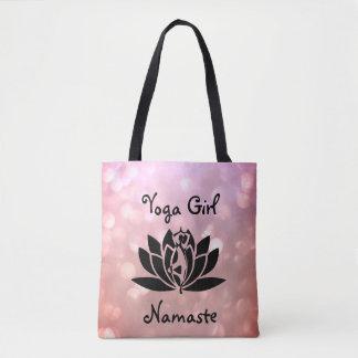 Pretty Pink Yoga Girl Namaste design Tote Bag