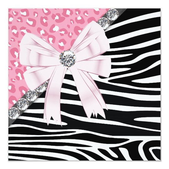 Pretty Pink Zebra and Leopard Sweet 16 Party Card