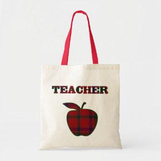 Pretty Plaid Apple Teacher's tote bag