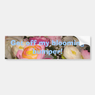 Pretty plastic flowers of unknown type & breed bumper sticker