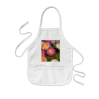 Pretty plastic flowers of unknown type & breed kids apron