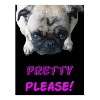 Pretty Please Pug Postcard