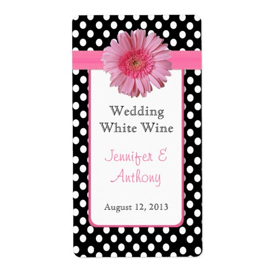 Pretty Polka Dot & Daisy Wedding Wine Labels