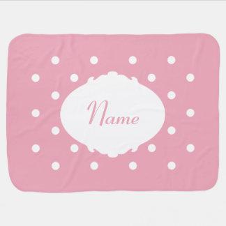 Pretty Polka Dot Name Baby Blanket