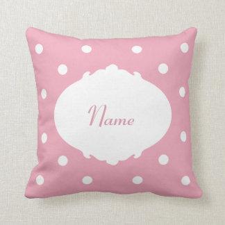 Pretty Polka Dot Name Throw Pillow Cushion