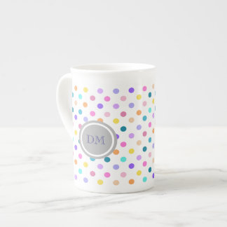 Pretty polka dot print initials bone china mug