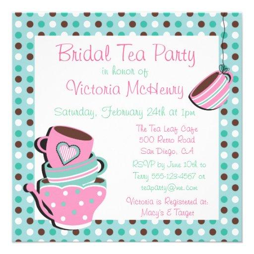 Pretty Polka dot Tea Party Invitation