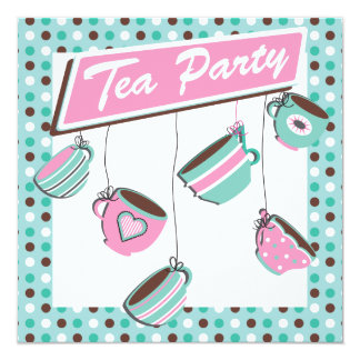 Pretty Polka dot Tea Party Invitation