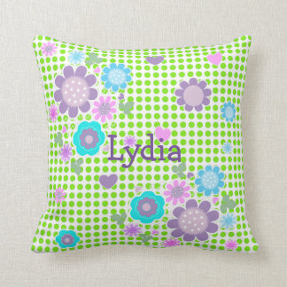 Pretty Polka Dot Whimsy Floral Print Personalized Cushion