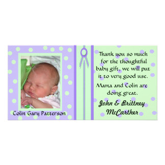 Pretty Polka Dots Baby photo thank you cards