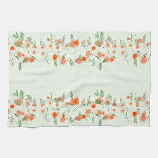 Pretty pom-Pom flowers and leaves Tea Towel
