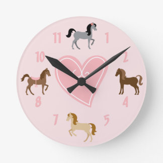 Pretty Ponies and Heart Cute Pink Horse Round Clock